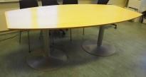 Møtebord / konferansebord i bjerk / grålakkert metall, 210x115cm, passer 6-8 personer, pent brukt