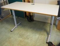 Kompakt skrivebord i lys grå / grå fra Edsbyn, 120x60cm, pent brukt