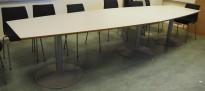 Møtebord / konferansebord i lys grå, 360x112cm, passer 12-14personer, pent brukt
