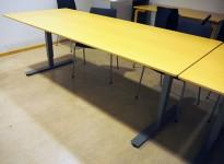 EFG skrivebord / kantinebord / møtebord i bøk / grått, 210x90cm, pent brukt