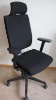 EFG One Sync kontorstol i sort stoff, nakkepute og armlene, pent brukt