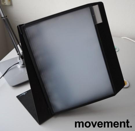 Oppslagslommer for skrivebord, 10x2 stk A4, Durable, bordfot i metall, pent brukt