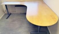 Ikea Galant skrivebord hjørneløsning i bjerk med grå T-fot, 200x190cm, pent brukt