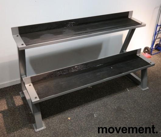 Stativ for kettlebells i grålakkert stål, 2 høyder, bredde 137cm, pent brukt bilde 1