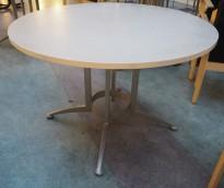 Rundt møtebord / konferansebord / kantinebord i lys gråmønstret / grått fra Kinnarps, modell Asto, Ø=110cm, pent brukt