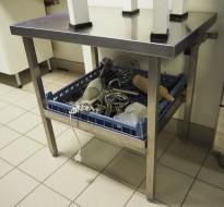 Lav arbeidsbenk / konsoll i rustfritt stål, 70x50cm, pent brukt