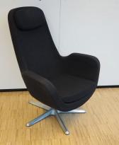 Loungestol / lenestol i koksgrått stoff fra IKEA, modell Arvika, pent brukt