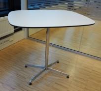 Lite møtebord / avlastningsbord, hvitt med sort kant / krom, 80x70cm, pent brukt