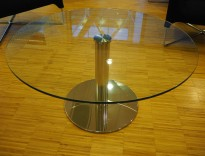 Loungebord / sofabord i glass / krom, Ø=89cm, høyde 46cm, pent brukt