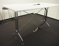 Barbord / ståbord i hvitt / polert aluminium fra Vitra, modell Adhoc, 200x90cm, pent brukt