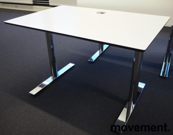 Lekkert skrivebord i hvitt med sort kant / krom, 120x80cm, pent brukt bilde 2