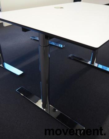 Lekkert skrivebord i hvitt med sort kant / krom, 120x80cm, pent brukt bilde 3