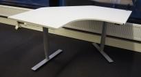 Martela skrivebord med elektrisk hevsenk i hvitt / grå, 140x140cm, pent brukt