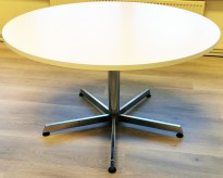 Rundt møtebord / kantinebord i hvitt / krom, Ø=120 H=71cm, pent brukt