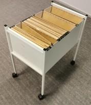 Eldre retro arkivstativ / stativ / tralle for hengemapper i hvitlakkert metall, pent brukt