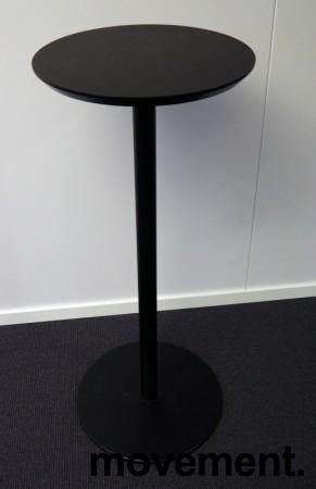 Barbord / ståbord i sort, Ø=45cm, høyde 108cm, pent brukt