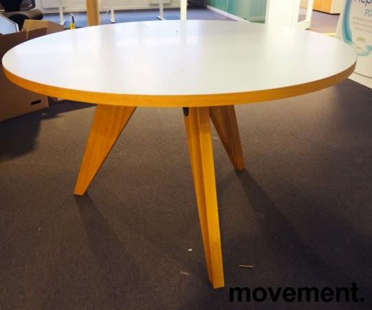 Rundt møtebord / konferansebord / kantinebord i hvitt / eik, Ø=120cm, pent brukt bilde 2