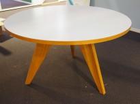 Rundt møtebord / konferansebord / kantinebord i hvitt / eik, Ø=120cm, pent brukt