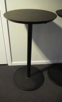 Barbord / ståbord i sort, Ø=45cm, høyde 90cm, pent brukt