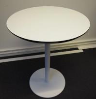 Lite, rundt møtebord, hvit plate, hvitlakkert understell, Ø=60cm, H=76cm, pent brukt