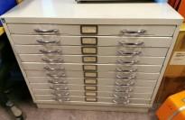 Retro tegningsskuff fra Høvik Stål i hvitlakkert metall, 10 skuffer, bredde 94cm, dybde 64,5cm, pent brukt