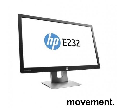Flatskjerm til PC: HP Elitedisplay E232, LED IPS 23toms, 1920x1080 Full HD, DP/HDMI/VGA/USB, tilt, pent brukt bilde 1