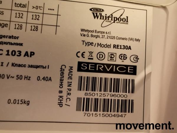 Lite kjøleskap fra Whirlpool, modell RE130A, 55cm bredde, 86cm høyde, pent brukt bilde 3