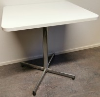 Lite kaffebord / loungebord i hvitt / krom, 60x70cm bordplate, 75cm høyde, pent brukt