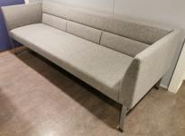 Kinnarps Wilson 3-seter sofa i grått ullstoff, bredde 218cm, pent brukt