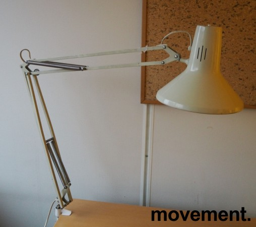 Vintage Luxo-lampe i lys beige, L-1P, original arkitektlampe med bordklemme, pent brukt