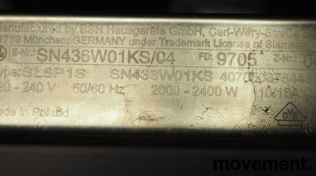 Siemens SN436W01KS oppvaskmaskin i hvitt, pent brukt bilde 3