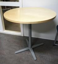 Lite, rundt møtebord, plate i bjerk, grålakkert understell fra Materia, Centrum-serie, Ø=70cm, H=72cm, pent brukt
