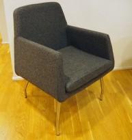 Loungestol fra Skandiform, modell Jefferson i grått ullstoff, 66cm bredde, pent brukt