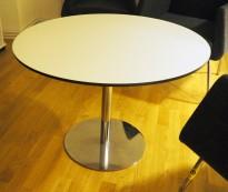 Lite, rundt loungebord i hvitt med sort kant / krom, Skandiform Slitz, Ø=85cm, pent brukt