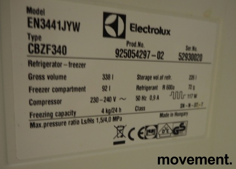 Kjøleskap/kombiskap fra Electrolux i hvitt, 60cm b, 183cm h, modell EN3441JYW, pent brukt bilde 3