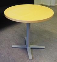 Loungebord i bjerk / grålakkert metall, Materia Centrum-serie, Ø=60cm, H=61, pent brukt