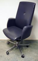 Konferansestol / Styreromsstol fra Savo, XO-serie i mørk grått skinn, pent brukt