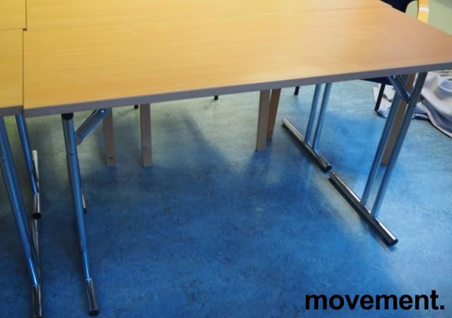 Konferansebord / klappbord i bøk laminat understell i krom, 120x45cm bordplate, pent brukt bilde 2
