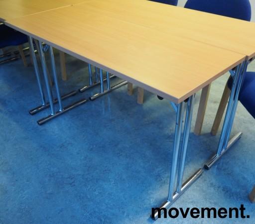 Konferansebord / klappbord i bøk laminat understell i krom, 120x45cm bordplate, pent brukt bilde 1