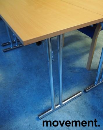 Konferansebord / klappbord i bøk laminat understell i krom, 120x45cm bordplate, pent brukt bilde 3