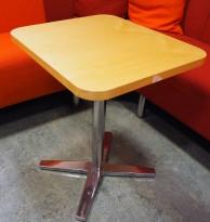 Loungebord i bjerk / krom, Materia Centrum-serie, 45x52,5cm, H=61, pent brukt