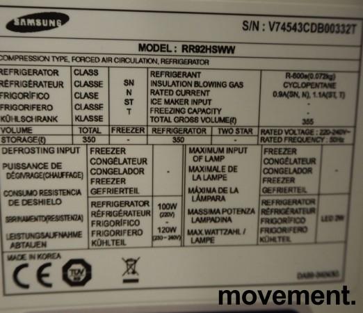 Samsung RR92HSWW frittstående kjøleskap, 180cm høyde, pent brukt bilde 3