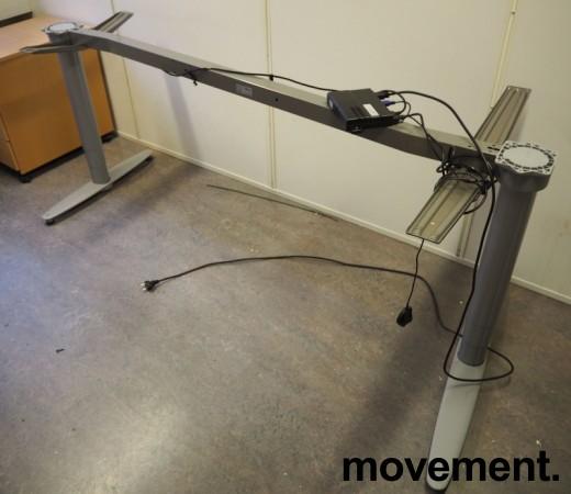 Kinnarps T-serie hevsenk understell for skrivebord, passer plate 200x120cm, høyreløsning, pent brukt bilde 1