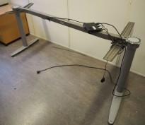 Kinnarps T-serie hevsenk understell for skrivebord, passer plate 200x120cm, høyreløsning, pent brukt