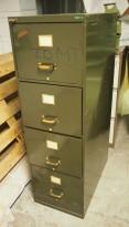 Arkivskap fra Apefo, 4skuffers, 41,5cm bredde, høyde 132cm, mørk grønn, retrostil, pent brukt