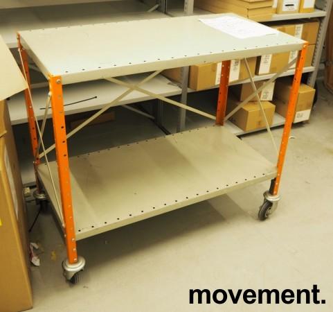 Tralle / trillebord / trillevogn i stål med 2 hylleplan, 100x51cm, pent brukt bilde 2