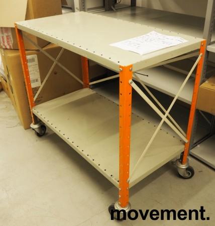 Tralle / trillebord / trillevogn i stål med 2 hylleplan, 100x51cm, pent brukt bilde 1