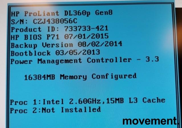 Rackserver 1units, HP Proliant DL360p Gen8, 1 x Xeon E5-2630v2 2,60GHz, 16GB / 2xPSU, pent  brukt bilde 4