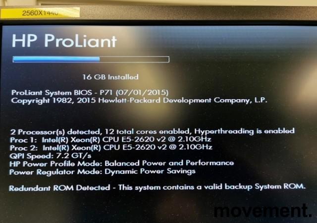 Rackserver 1units, HP Proliant DL360p Gen8, 2x Xeon E5-2620v2 2,1GHz, 16GB / 2xPSU, pent  brukt bilde 2