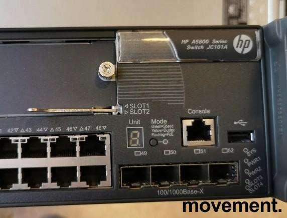 Hewlett-Packard HPE A5800 Managed 48port switch JC101A, med 4+2 10Gb uplink, pent brukt bilde 2